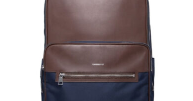 Foto goedkope Sandqvist Folke Rugzak - Navy with Dark Brown Leather